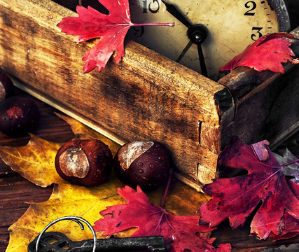 Obsolete alarm clock on wooden background strewn with fallen leaves